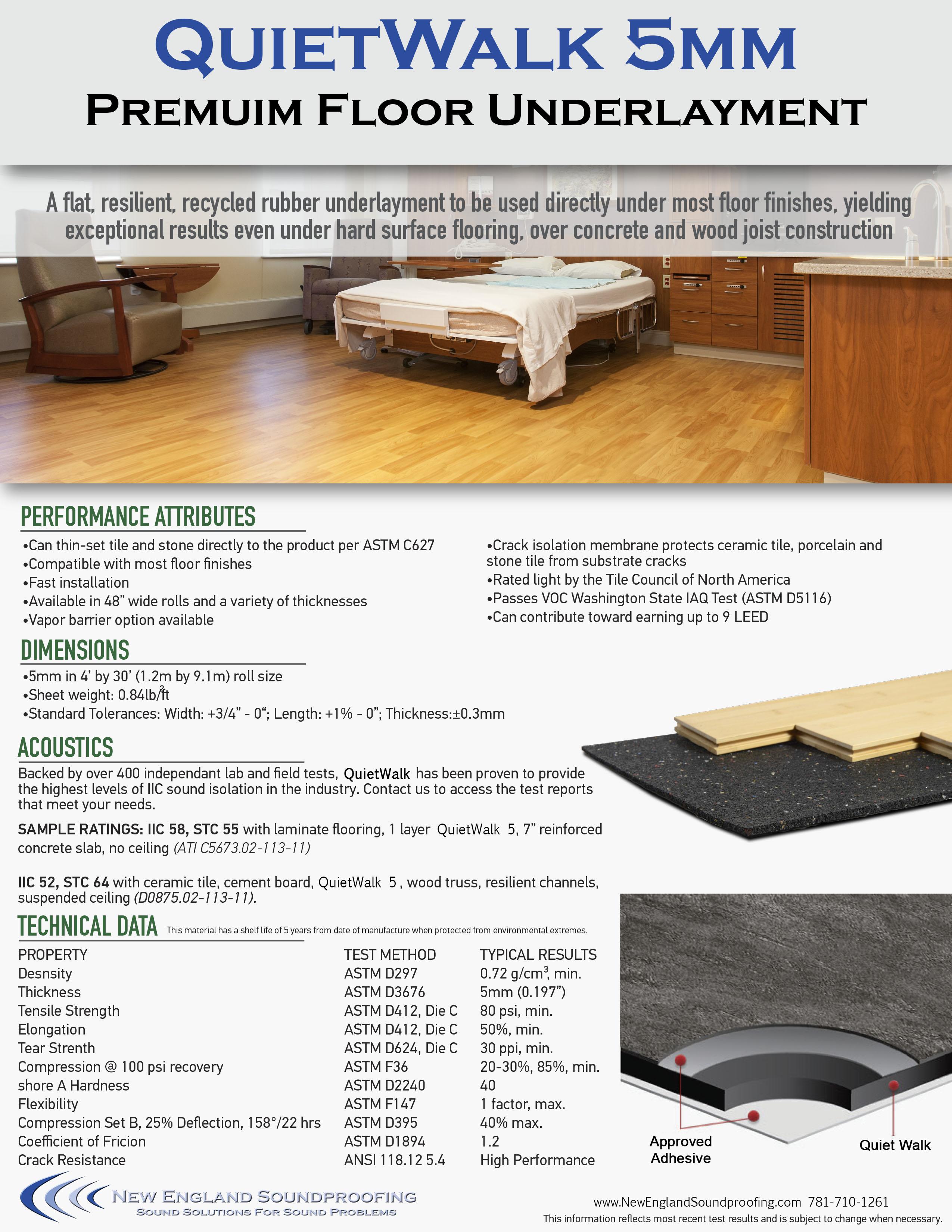 QuietWalk 5mm Information jpg. Underlayment for Floor Soundproofing  Impact Noise Reduction