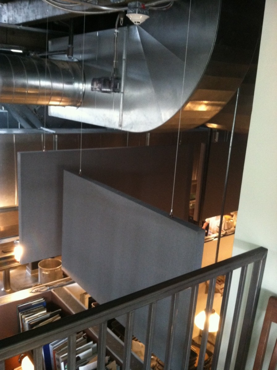 Custom Made Acoustic Baffle Installation For Sound Absorption